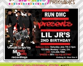 432: DIY - RUN DMC Hip Hop Party Invitation Or Thank You Card