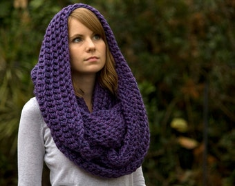Infinity Scarf, Purple Crochet Scarf, Oversized Scarf, Hooded Scarf, Chunky Cowl, Loop Scarf, Circle Scarf