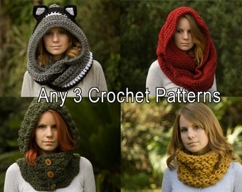 Any 3 Crochet Patterns, Scarf Patterns Discount Package