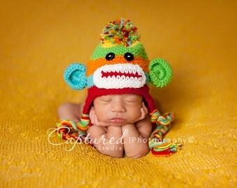 Baby Boy Hat NEWBORN Sock Monkey Hat CROCHET Knit Baby Boy Monkey Hat w/ ear flaps Colorful