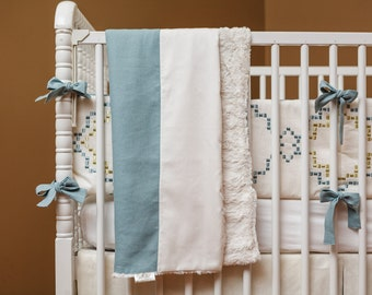 Ivory Linen Crib Bumper: baby bedding, blue linen accents, Reduced! 10% Off, READY TO SHIP, exclusive Ruby Begonia
