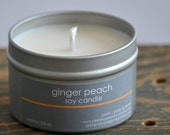 Ginger Peach Soy Candle Tin 4 oz. - peach candle - ginger candle - summer soy candle - spring candle - food candle - fresh scent candle