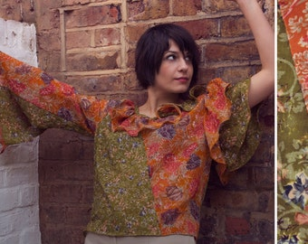 SALE top now. Handmade Artsy Funky  Asymmetric summer Blouse. Unique sleeves, playful collar. Festival top