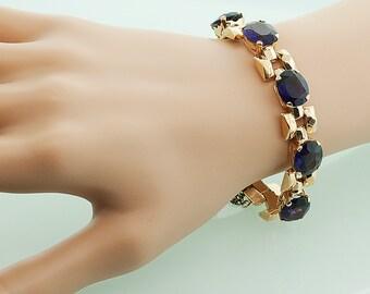 Vintage Bracelet - Vintage Amethyst Link Bracelet