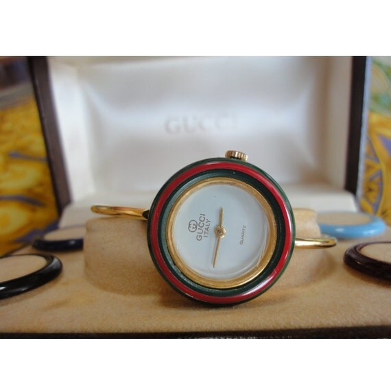 6978bfb4878 Vintage gucci bezel bangle watch with different color jpg 570x570 Gucci  watch with different rings