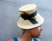 Soft Yellow Straw Hat, Newly Hand Blocked -1940's Vintage Look-Parasisal Straw- Rust and Black Furnace Saddle and Pheasant Feathers
