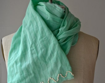Mint Lightweight Cotton Woven Scarf with Hand Beaded Chevron Detail