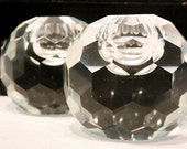 Vintage Post House Cut Crystal Hexagon Candle Holders with Burgundy Velvet Lined Box: Set of 2