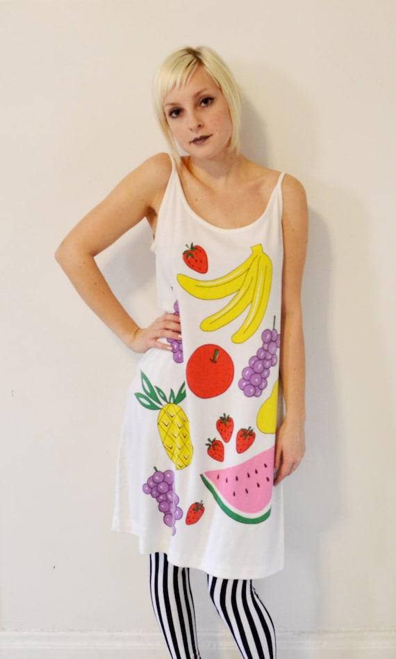 Vintage GRAPHIC Pop Art Colorful NOVELTY Dress Ironic  Cartoon FRUIT Sleeveless