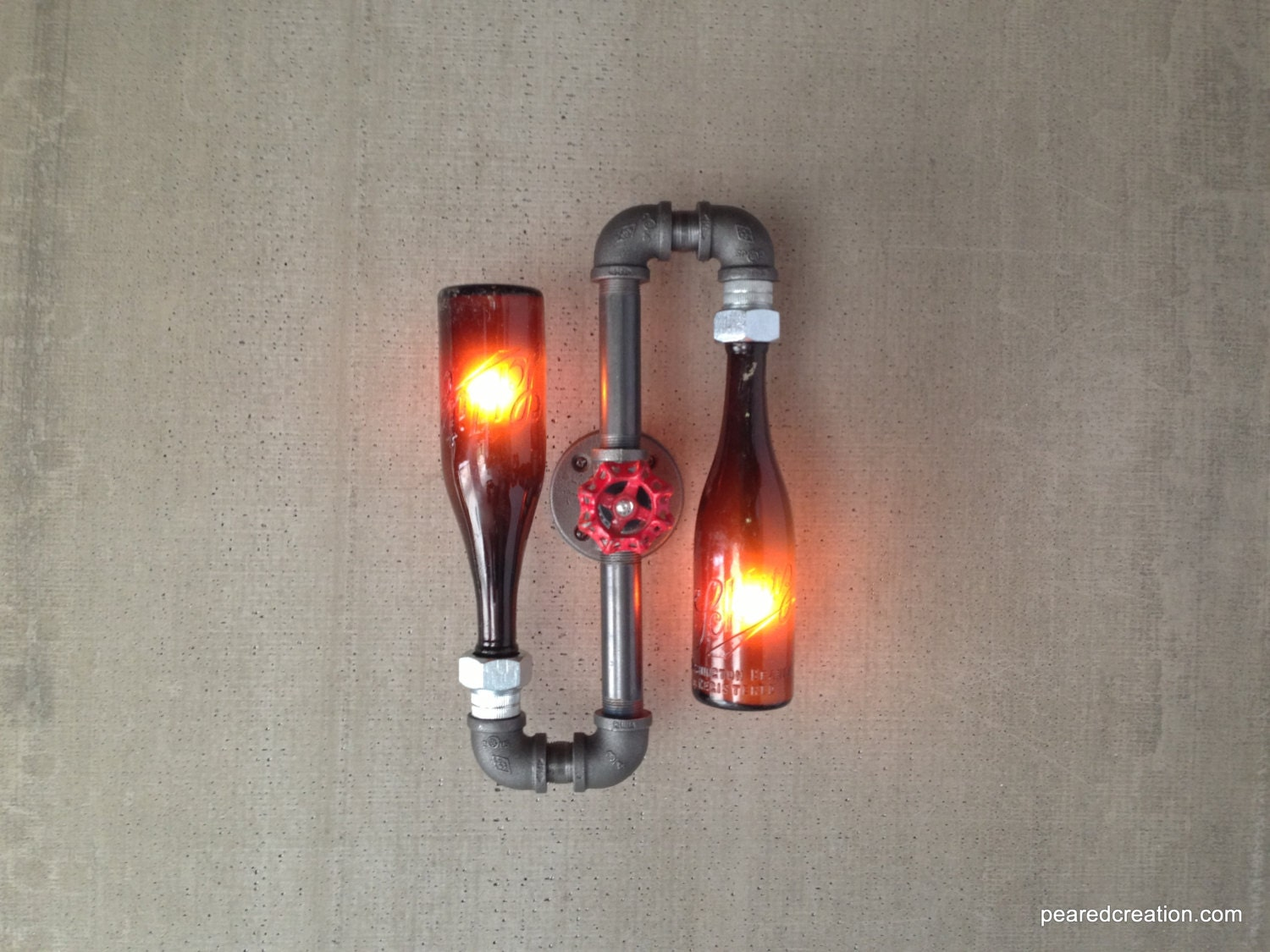 beer bottle sconce industrial lighting steampunk lamps. Black Bedroom Furniture Sets. Home Design Ideas