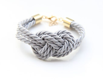 Grey triple Gold silk Knot Bracelet - tie the knot bracelet, nautical bracelet, wedding gift, baby shower gift, beach wedding