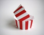 Circus Cupcake Wrappers, Circus Tent, Carnival, Red & White Stripes, Popcorn, Christmas, Candy Cane, Birthday, Wedding, Baby Shower