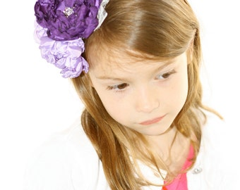 Custom Purple Flower Headband - Flowergirl Headband - Purple Wedding - Ivory Flowergirl Headband - Customize your colors