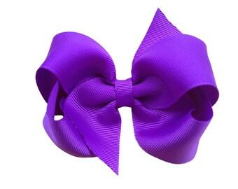 4 inch purple boutique bow - boutique hair bow, toddler bow, 4 inch bows, girls hair bows, girls bows, hair clips, purple bows