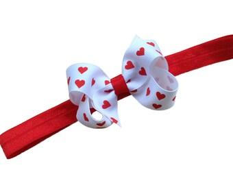 Red baby headband - Valentines Day headband, baby headbands, baby headband bows, baby girl headbands, newborn headbands, baby bows, hair bow