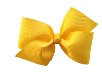 Two loop yellow hair bow - yellow bow, boutique bow, girls hair bows, toddler bows, girls bows, yellow hair bows, 4 inch bows