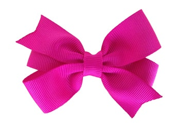 3 inch bright pink hair bow - fuchsia bow, toddler bow, pinwheel bow, 3 inch bow, girls hair bows, pink hair bows, baby bows