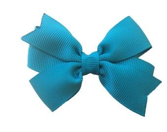 Jade hair bow - dark green bow, teal bow, toddler bow, 3 inch bows, pinwheel bows, girls hair bows, baby bows, green bows, girls bows