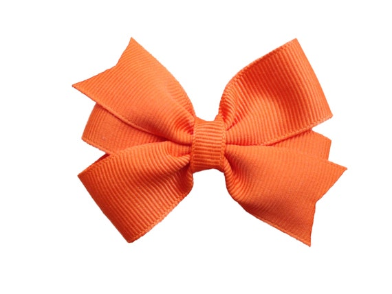 3 inch orange hair bow - orange bow, baby bow, toddler bow, pinwheel bows, girls hair bows, girls bows, baby bows, orange hair bows