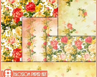 Floral Digital Paper Red Yellow Digital Paper Pack, Digital Scrapbooking Pack, Red Flowers, Yellow Flowers - INSTANT DOWNLOAD 1624