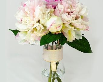 Baby Pink Fuchsia Silk Peony Arrangement in Glass Vase as Home Decor Artificial Faux Floral Arrangement