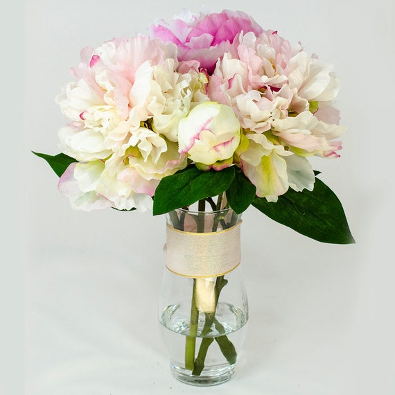 Baby Pink Fuchsia Silk Peony Arrangement In Glass Vase As Home
