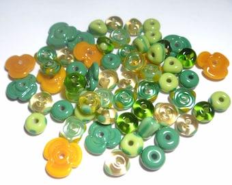 St. PATRICKS DAY MIX - Handmade Glass Lampwork Beads - Green Topaz Golds - Set of 20