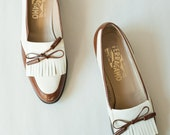 Vintage Ferragamo Loafers / Size 6.5 / Penny Loafers / Leather Flats