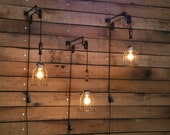 SAVE 15% this week - Pulley Wall mount with Industrial cage Light and Wooden Handle