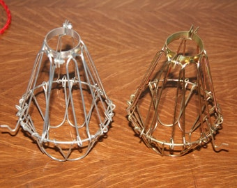 Vintage Style Industrial Wire Cage Guard for Hanging Pendant Light - Aged or Gold - Wire Bulb Guard Only