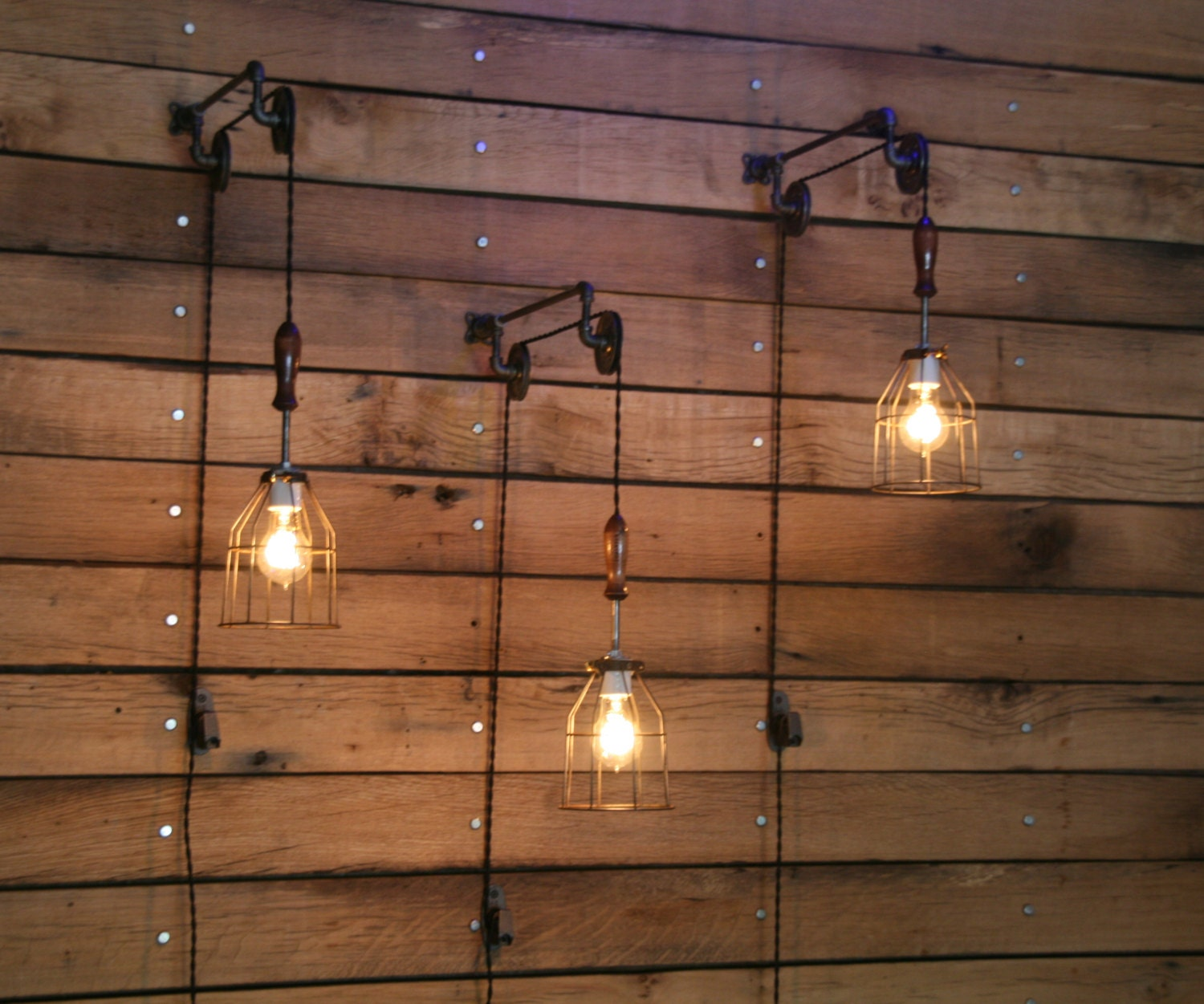 Wall Mounted Pendant Lights : Pulley Wall mount with Industrial cage Light and Wooden Handle