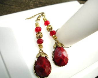 Red earrings, red earring, red jewelry, red gold earrings, dark red earrings, dark red earring, red drop earrings, red gold earring
