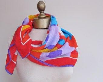 Silk scarf , 80s  , ALBERT NIPON , vivid abstract , square silk scarf, bright silk scarf, 1980s fashion