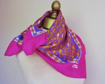 1960s silk scarf, Burmel silk scarf, shocking pink scarf, ladies square scarf, made in Italy, vintage 60s scarves, hand rolled