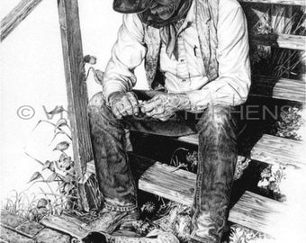 Cowboy art, A Dogs Best Friend, drawing of a cowboy and his hound sitting on the porch, dog art, cowboy art