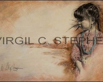 Native American art, Deep Thoughts, print from the original oil painting of a young Apache girl into some deep thought