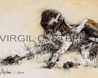 Dog Day Afternoon print from the original oil painting of a hound dog scratching himself, hunting dog