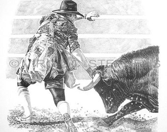 Bull Fighting, drawing of a rodeo cowboy fighting the bull at the rodeo, western cowboys, western drawing