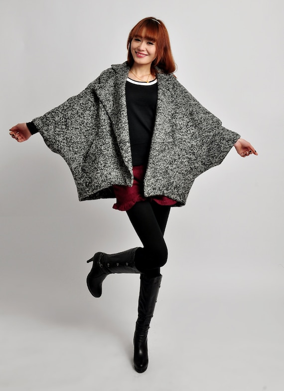 autumn wool bat jacket winter thick wool  bat coat cashmere  cape bat cape wool jacke twooljacket wool dress