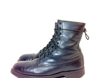 REDUCED~ Mens Leather Combat Boots 9 - Black Steel Toe Military Issued Combat Boots 9