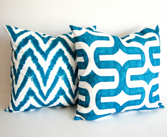 Teal Blue Throw Pillow Covers : Teal blue pillow covers pair cushion covers by ThePillowPeople