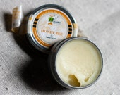 Natural Lip Balm Tin - Honey and Cooling Peppermint - Honey Bee / geometric eco friendly orange yellow lip butter garden