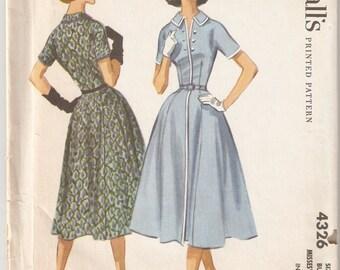 Vintage 1957 McCall's Pattern 4326 Misses Dress Size 16 Bust 36