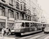 Prague Tram photo, Street Car, Vintage, Cobblestone, Romantic, Czech Republic, Nostalgic, Transportation, Wall decor, Architecture