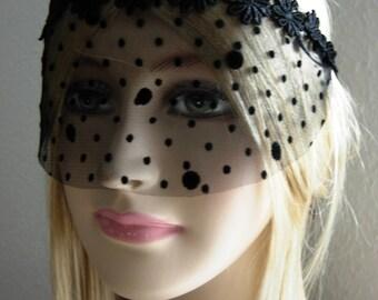 Black lace mask masquerade ball face mask headpiece burlesque