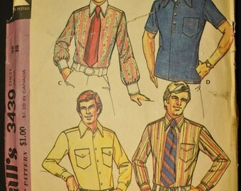 Vintage 1970s Men's Button Down Shirt Wardrobe Sewing Pattern -McCall's 3439, Chest Size 38, Neck 15 - Vintage Wedding or Wear to Work Styl