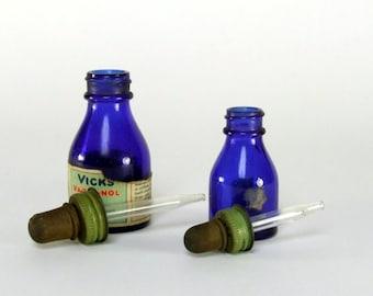 Vintage Vicks Bottles & Droppers Cobalt Blue Glass