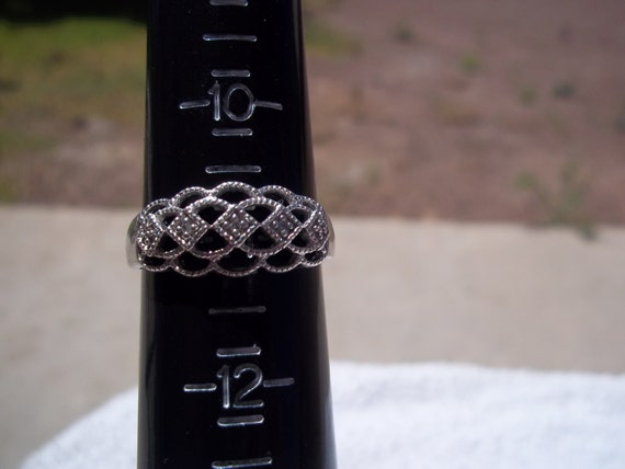 Vintage Filigree Silver and Diamond Ring