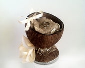 Reserved for Noa / Ringbearer coconut goblet / vase with a burlap pillow