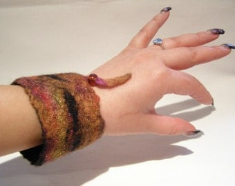 Wet Felted Cuff Bracelet, Red Strata, Gold, Black, Orange, Amber, Bead.